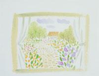 窓から見た庭のイラスト