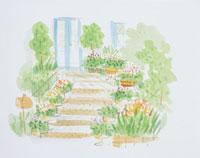 玄関前の庭のイラスト 20014003106| 写真素材・ストックフォト・画像・イラスト素材|アマナイメージズ