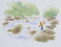 渓流釣りのイラスト 20014003111| 写真素材・ストックフォト・画像・イラスト素材|アマナイメージズ