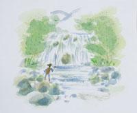 渓流釣りのイラスト 20014003112| 写真素材・ストックフォト・画像・イラスト素材|アマナイメージズ