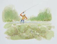 渓流釣りのイラスト 20014003113| 写真素材・ストックフォト・画像・イラスト素材|アマナイメージズ