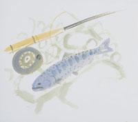 釣竿と魚のイラスト