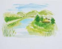 川のある農村のイラスト
