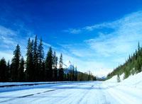 青空とカナディアンロッキーと冬の道
