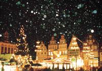 クリスマスイルミネーションと雪