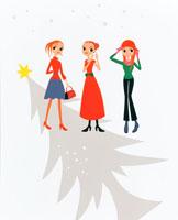 クリスマスツリーと3人の女の子 20014004711| 写真素材・ストックフォト・画像・イラスト素材|アマナイメージズ
