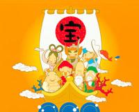 宝船と七福神のイラスト