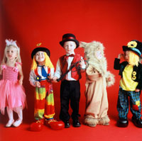Children in clown costumes