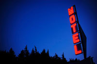 Neon motel sign at night