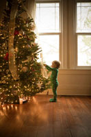 boy admiring Christmas tree