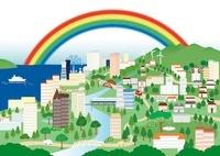 虹が架かる街 イラスト