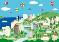 気球が飛ぶ街 イラスト