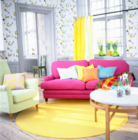 Colorful sofa in the living room