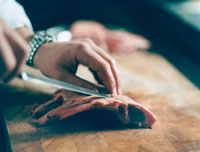 Meat on the cutting board
