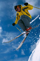 a jumping skier