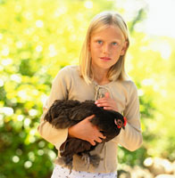 A girl patting a chicken