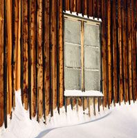Frosty windows on house