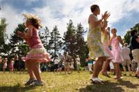 People celebrating midsummer