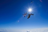 Two people parachuting