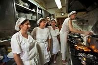 Women preparing food in restaurant