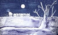 夜の中の木