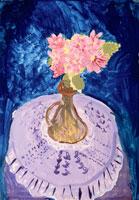 青い背景にある花
