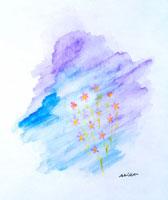 花と空の絵