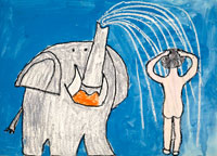 象のシャワー 20020000265| 写真素材・ストックフォト・画像・イラスト素材|アマナイメージズ