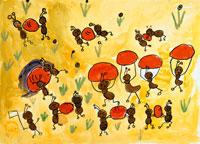 豆を運ぶアリ