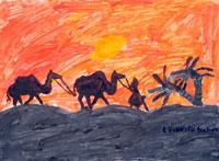夕焼けの砂漠 20020000470| 写真素材・ストックフォト・画像・イラスト素材|アマナイメージズ