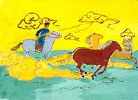 草原をかける馬