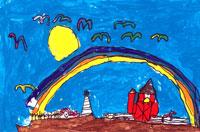 納屋の上の虹