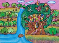大きな木の家 20020000538| 写真素材・ストックフォト・画像・イラスト素材|アマナイメージズ