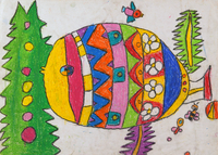 魚に花柄の服を着せる