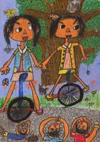 一輪車遊び 20020000927| 写真素材・ストックフォト・画像・イラスト素材|アマナイメージズ