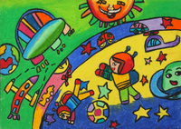 クレヨン画 宇宙を跳ぶ