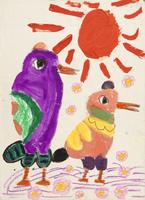 小鳥母子 20020001244| 写真素材・ストックフォト・画像・イラスト素材|アマナイメージズ