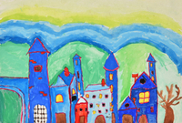 青い町 20020001377| 写真素材・ストックフォト・画像・イラスト素材|アマナイメージズ