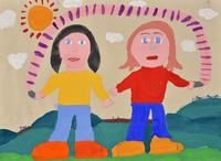お友達とスキップ 20020001466| 写真素材・ストックフォト・画像・イラスト素材|アマナイメージズ
