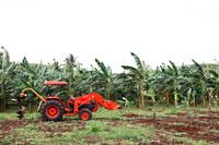 赤いトラクターと畑