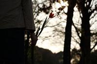 手に花を持つ女性