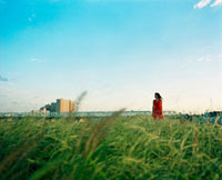 草原に立つ赤いワンピースを着た女性 20021005708| 写真素材・ストックフォト・画像・イラスト素材|アマナイメージズ