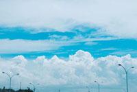 夏の雲と電灯