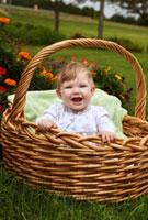 バスケットに入った生後6ヶ月の女の子