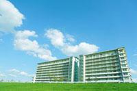 緑の土手の上に建つマンション