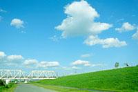 緑の土手と白い鉄橋
