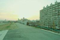 大阪の淀川河川敷の道とマンション 20021006117| 写真素材・ストックフォト・画像・イラスト素材|アマナイメージズ