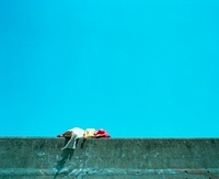 赤い帽子の女の子と青い海 20021006230| 写真素材・ストックフォト・画像・イラスト素材|アマナイメージズ