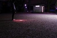 公園に散った桜と懐中電灯を持って立つ青年 20021006466| 写真素材・ストックフォト・画像・イラスト素材|アマナイメージズ