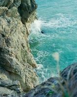 岸壁に白波を上げる日本海